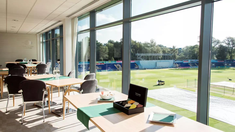 Room set up over looking cricket field