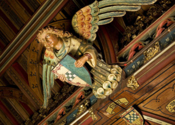 Cardiff Castle banquet hall angel statue