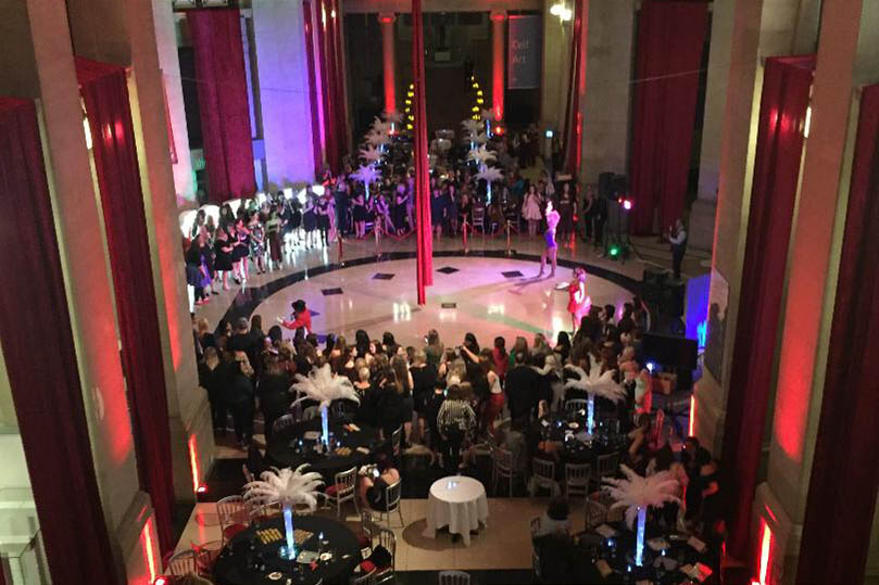 View from the balcony of an evening event in the museum