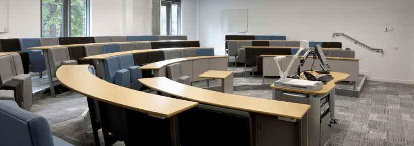 Lecture room in Cardiff Met University with semi circular bench seating